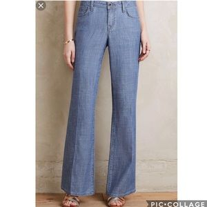 Anthro Level 99 Chambray Wide Leg Newton Pants
